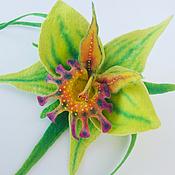 """Украшения ручной работы. Ярмарка Мастеров - ручная работа Брошь """" Зеленая орхидея"""". Handmade."""