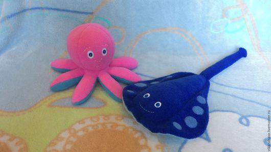 Морские жители, морские животные, морские обитатели, мягкая игрушка осьминог, мягкая игрушка скат, игрушка антистресс, развивающая игрушка осьминог, розовый осьминог, щупальца осьминога, скат манта