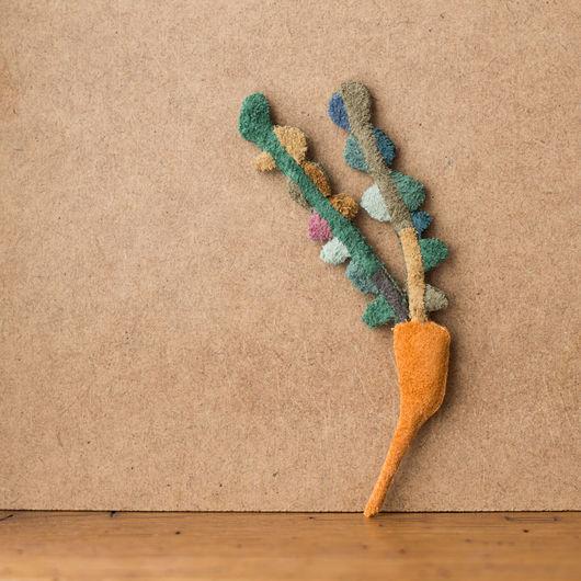 Броши ручной работы. Ярмарка Мастеров - ручная работа. Купить Морковь. Handmade. Комбинированный, морковь, брошь, кожа