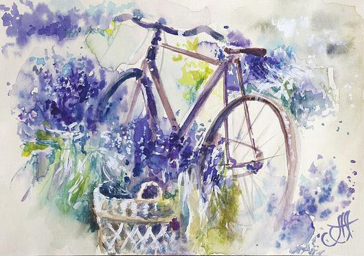 Картины цветов ручной работы. Ярмарка Мастеров - ручная работа. Купить Лавандовый велосипед. Handmade. Цветущий велосипед, подарок девушке