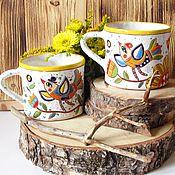 """Посуда ручной работы. Ярмарка Мастеров - ручная работа Чашки парные """"Пара птиц"""". Handmade."""