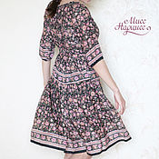 Одежда handmade. Livemaster - original item Dress in the Russian style with a floral print. Handmade.