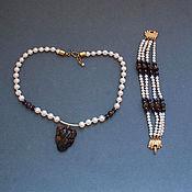 Украшения handmade. Livemaster - original item set from bracelet and necklace,pearls, amethyst,tiger`s eye. Handmade.