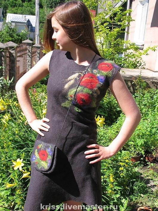 Платья ручной работы. Ярмарка Мастеров - ручная работа. Купить платье Маки. Handmade. Темно-серый, платье валяное, войлок