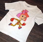 "Одежда handmade. Livemaster - original item T-shirt for kid ""Fixik Simka"", hand-painted. Handmade."