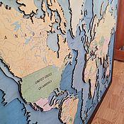 """Панно ручной работы. Ярмарка Мастеров - ручная работа Панно """"Карта мира"""" 100х150 см без сборки. Handmade."""