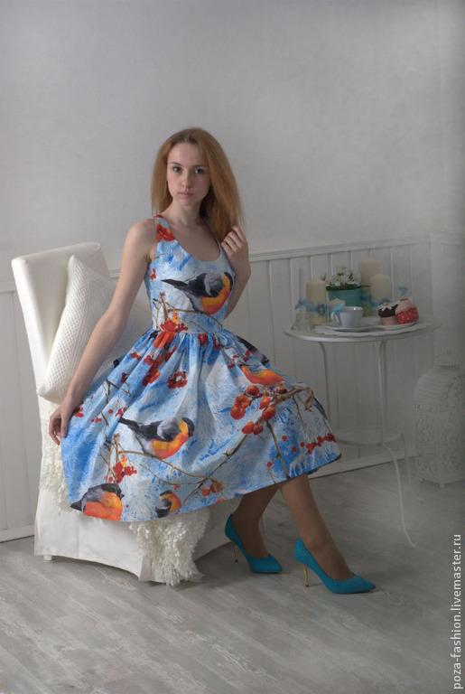 Платья ручной работы. Ярмарка Мастеров - ручная работа. Купить Платье Снегирь. Handmade. Разноцветный, птица, стильное платье, патриот
