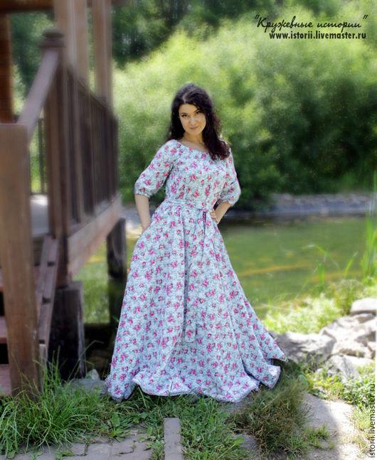 Платья ручной работы. Ярмарка Мастеров - ручная работа. Купить Пышное платье нежно-серого цвета с рисунком розочки. Handmade.