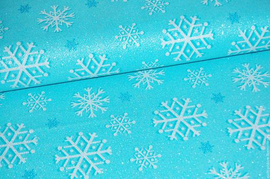 """Шитье ручной работы. Ярмарка Мастеров - ручная работа. Купить Хлопок """"Снежинки"""" (бирюзовый фон). Handmade. Американский хлопок, ткань"""