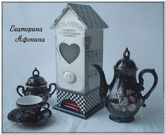 """Кухня ручной работы. Ярмарка Мастеров - ручная работа. Купить Чайный домик """"Отель Перрин"""". Handmade. Чёрно-белый"""