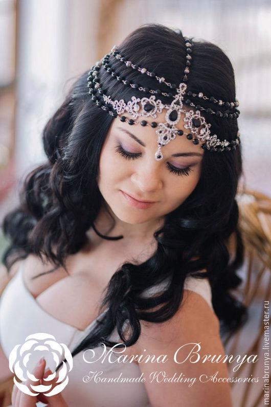 Свадебные украшения ручной работы. Ярмарка Мастеров - ручная работа. Купить Тика на голову. Handmade. Черный, тика на голову