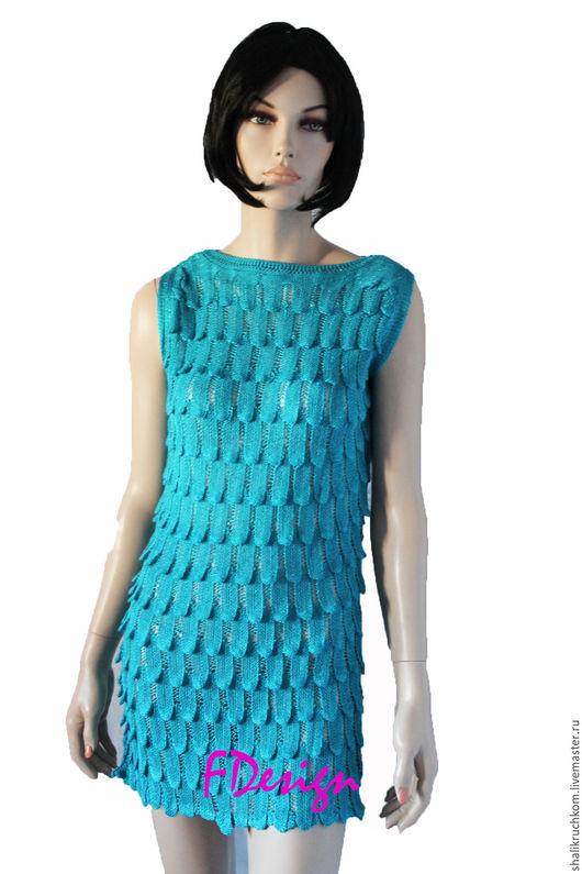Платья ручной работы. Ярмарка Мастеров - ручная работа. Купить Вязаное платье Волнистое. Handmade. Платье женское, платье коктейльное