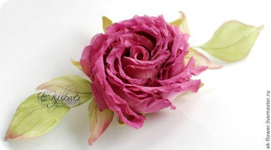 """Цветы ручной работы. Ярмарка Мастеров - ручная работа. Купить Цветы из шелка. Цветок-брошь Роза """"Серинити"""". Handmade. Цветы"""
