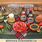 """Картины и панно ручной работы. Ярмарка Мастеров - ручная работа панно кухонное с пивом и раками """". Handmade."""