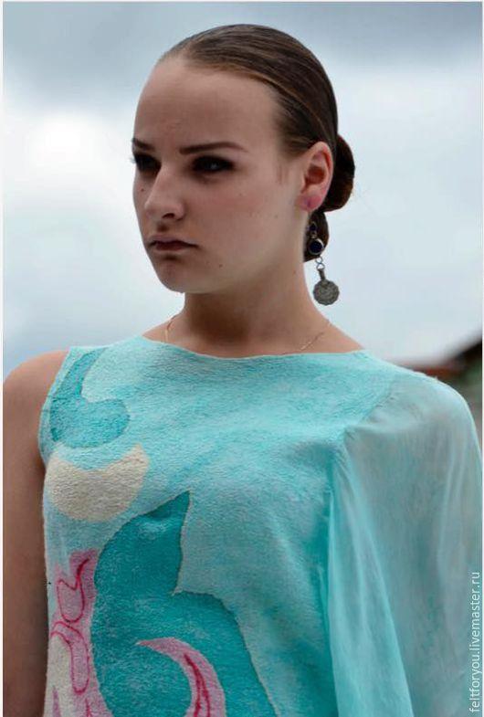 """Платья ручной работы. Ярмарка Мастеров - ручная работа. Купить Авторское валяное  платье """"Волшебство востока"""". Handmade. Голубой, Валяние"""
