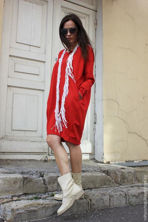 R00040 Платье красное короткое яркое платье сочное платье красный цвет свободное платье нарядное платье теплое платье из шерсти платье из джерси платье на осень платье шерстяное свободный стиль
