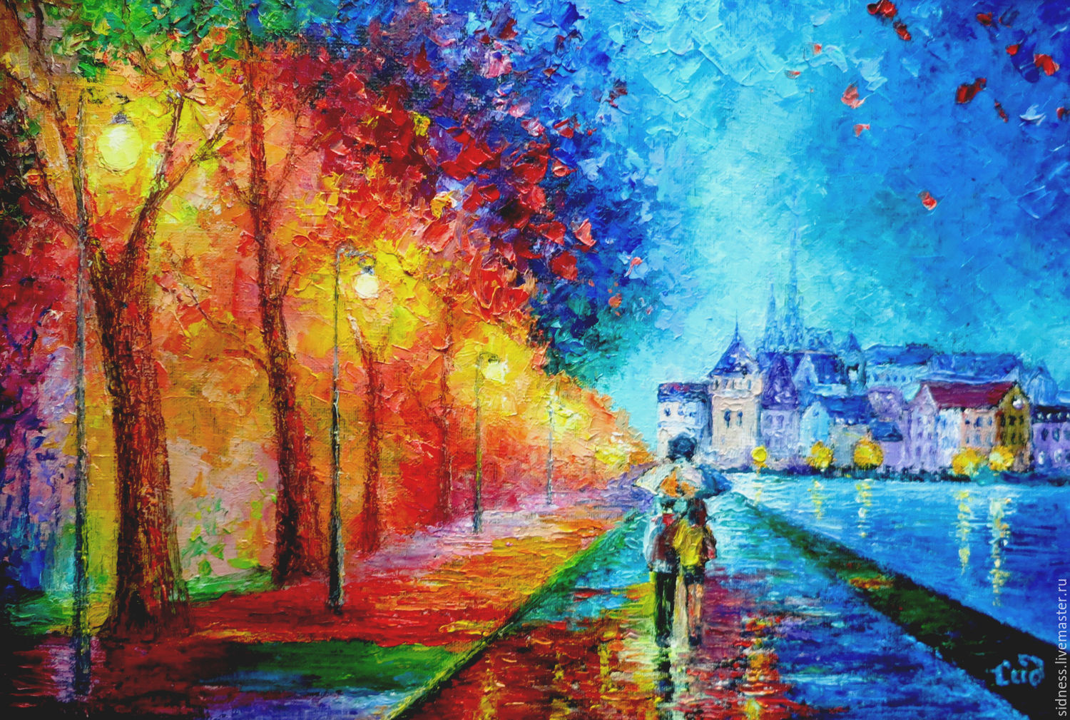 Oil painting two under one umbrella based afremov shop for Selling oil paintings online