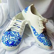 """Обувь ручной работы. Ярмарка Мастеров - ручная работа Кеды  женские с рисунком на заказ """"Гжель"""". Handmade."""