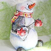новогодний снеговик из папье-маше
