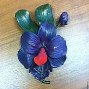 """Украшения ручной работы. Ярмарка Мастеров - ручная работа Кожаная брошь """"Орхидея"""". Handmade."""