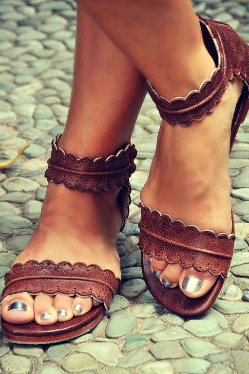 Обувь ручной работы. Ярмарка Мастеров - ручная работа. Купить Midsummer, кружевные лёгкие кожаные сандалии. Handmade. Коричневый