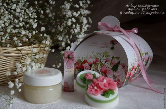 Набор косметики ручной работы в подарочной коробочке (мыло, бальзам для губ, гель для умывания)