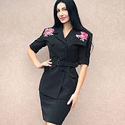 """Одежда handmade. Livemaster - original item Чёрный костюм с вышивкой крестом """"Алая роза"""" вышитый костюм. Handmade."""