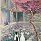 Картина Идиллия, холст на оргалите, масло, 18х24см.