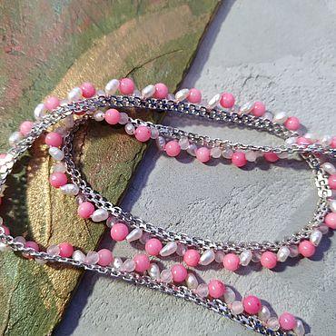 Украшения ручной работы. Ярмарка Мастеров - ручная работа Колье с розовым кораллом и кварцем, жемчугом для принцессы. Handmade.