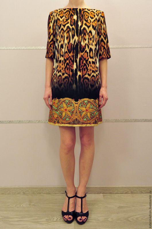 Платья ручной работы. Ярмарка Мастеров - ручная работа. Купить Короткое леопардовое платье. Handmade. Разноцветный, леопардовый принт