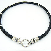 Украшения handmade. Livemaster - original item Braided leather choker with the heads of wolves 925 sterling silver. Handmade.