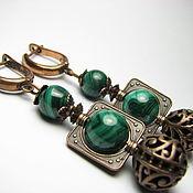 Украшения handmade. Livemaster - original item Earrings malachite and copper