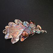 Украшения ручной работы. Ярмарка Мастеров - ручная работа Дубовый лист с желудями, брошь медь, серебрение,патина винтажный стиль. Handmade.