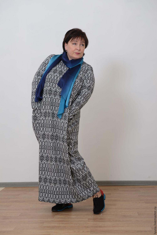 Knitted dress-a diamond with sleeves 'Majolica'. Art.1347, Dresses, Kirov,  Фото №1