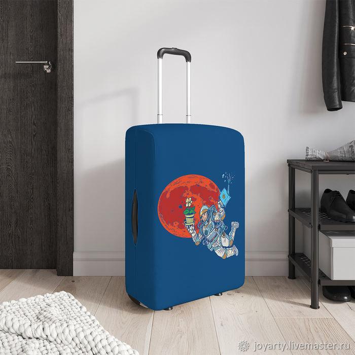Чехол для чемодана «Космонавт с цветком» (S,M,L/XL), Сумки и аксессуары, Москва,  Фото №1