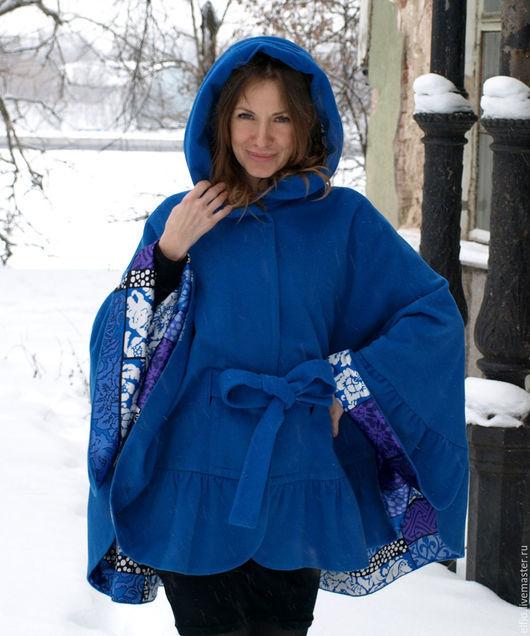 Пончо ручной работы. Ярмарка Мастеров - ручная работа. Купить Пончо пальто с рюшей с капюшоном синее. Handmade. Синий, шёлк