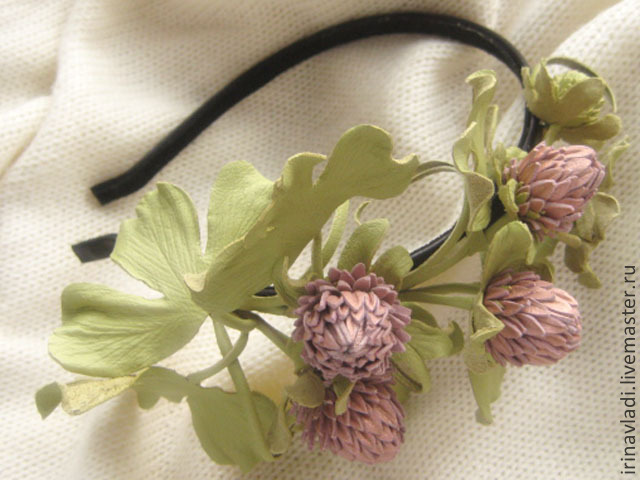 leather flowers,leather flowers,clover pink leather,brooch hairpin made of leather,headband leather with clover, leather headband, leather headband, hair accessories, leather goods, leather accessorie