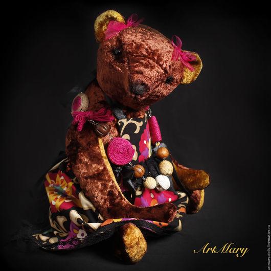 Мишки Тедди ручной работы. Ярмарка Мастеров - ручная работа. Купить Сара. Handmade. Коричневый, хлопок с узорами, ленты, кружево