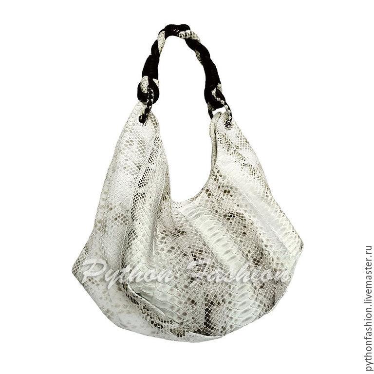 Bag leather Python. Designer handbag hobo Python with braided handle. An unusual bag made from Python. Pimonova fashion shoulder bag. Stylish women's shoulder bag handmade. Beautiful bag