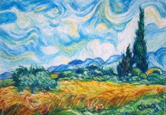 """Репродукции ручной работы. Ярмарка Мастеров - ручная работа. Купить Картина """"Пшеничное поле с кипарисами"""" Ван Гог копия. Handmade."""