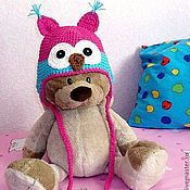 """Работы для детей, ручной работы. Ярмарка Мастеров - ручная работа шапочка """"Совушка"""" (шапка теплая зимняя вязаная с ушками) розовый. Handmade."""