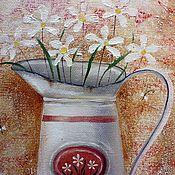 Картины ручной работы. Ярмарка Мастеров - ручная работа Натюрморт маслом картина ромашки. Handmade.