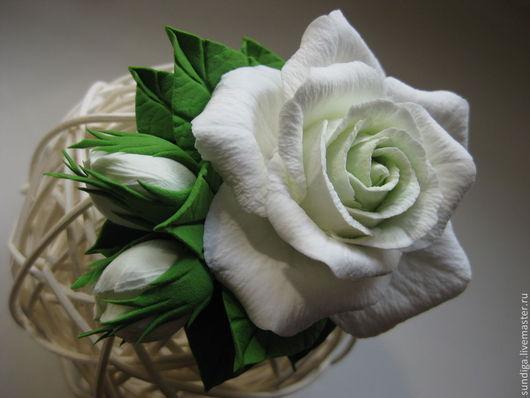 """Заколки ручной работы. Ярмарка Мастеров - ручная работа. Купить Заколка для волос из полимерной глины """"Белая роза"""". Handmade. Белый"""