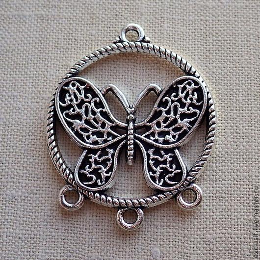 Фурнитура для создания украшений - коннектор для серег с бабочкой. Цвет коннектора античное серебро. Диаметр коннектора 2,5 см. Коннектор двусторонний