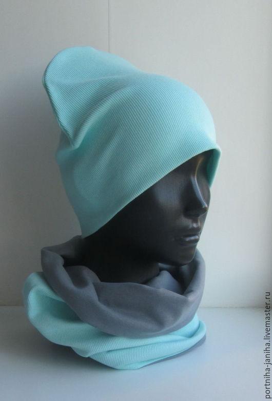 Шапки и шарфы ручной работы. Ярмарка Мастеров - ручная работа. Купить Комплект шапка и снуд хомут. Handmade. Шапка, мятная