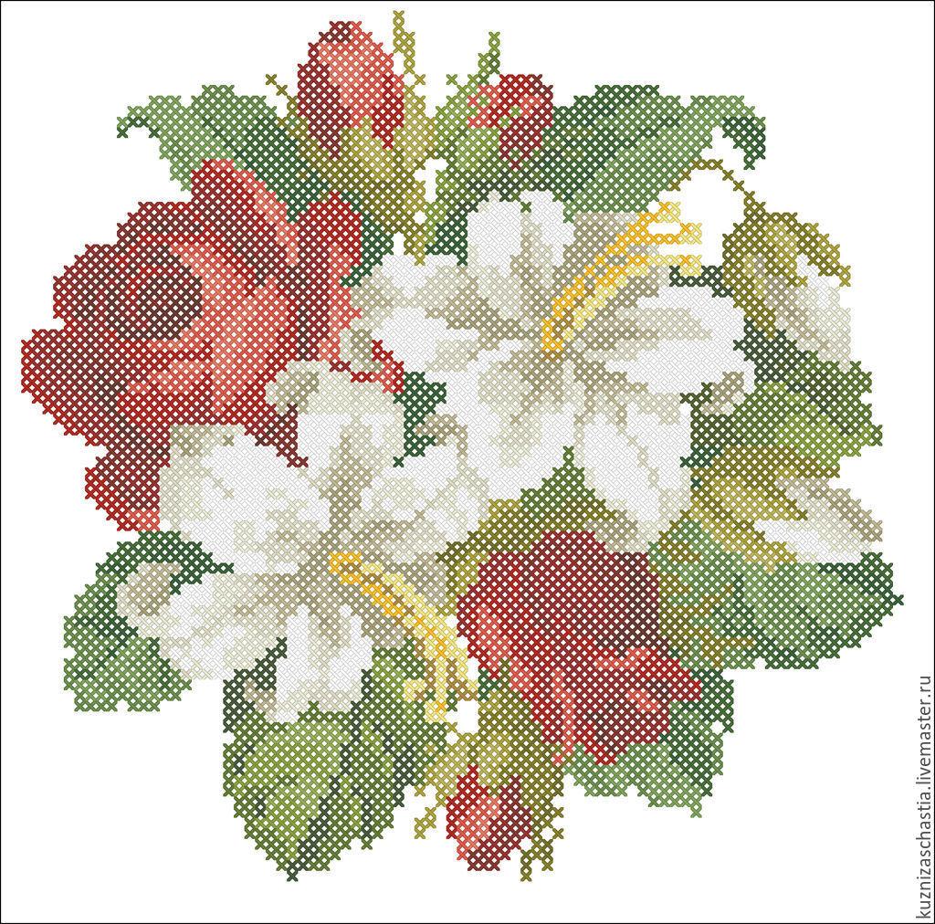 Букет с лилиями вышивка
