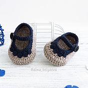 Работы для детей, handmade. Livemaster - original item knitted booties the sandals for boy, beige, blue. Handmade.