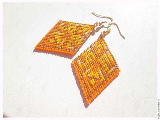 Серьги ручной работы. Ярмарка Мастеров - ручная работа. Купить Солнечные серьги  - ромбы. Handmade. Оранжевый, модные серьги