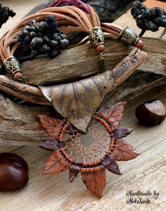 """Кулоны, подвески ручной работы. Ярмарка Мастеров - ручная работа. Купить Кулон """"Ловец осенних снов"""" (оранжевый, листья, этно). Handmade."""