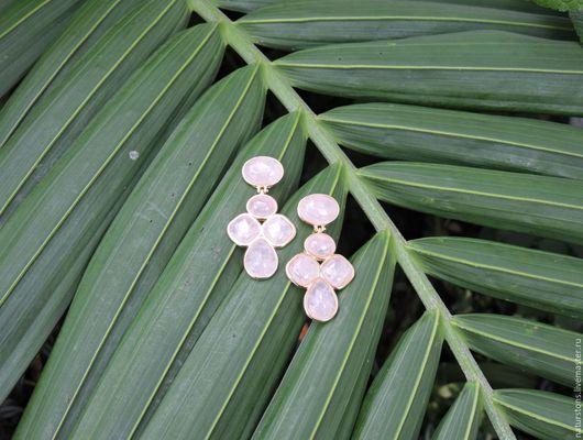 Серьги ручной работы. Ярмарка Мастеров - ручная работа. Купить серьги с розовым кварцем Нежнее шелка 4. Handmade. Розовый